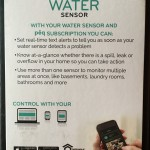 The back panel of the PeQ Water Sensor packaging.